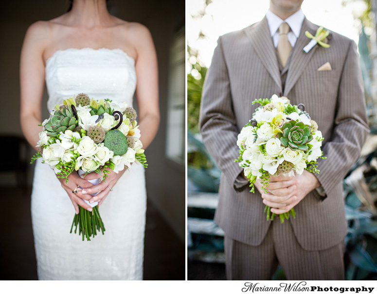 bride and groom hold succulent bouquet