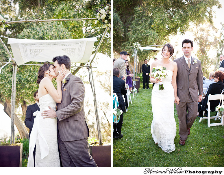 Kiss under Rustic Chuppah at Upper Las virgenes