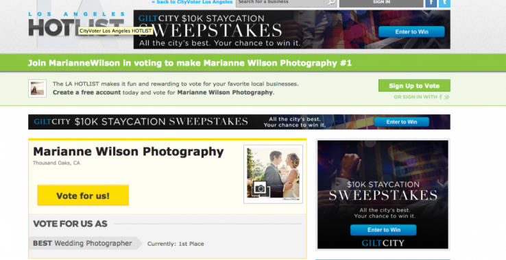 LA Hotlist - Vote for Marianne Wilson Photography
