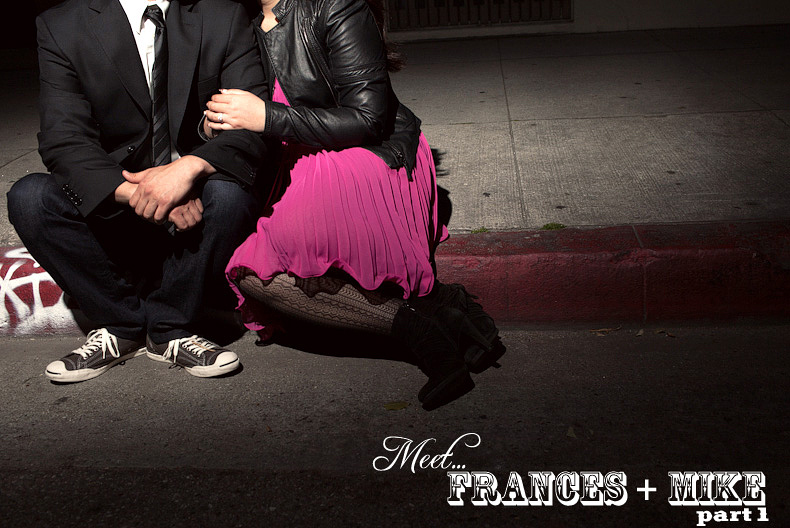 One light photo on curb in downtown los angeles engagement