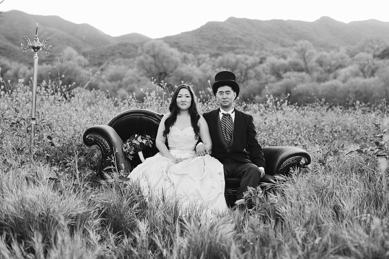 american gothic top hat bridal session