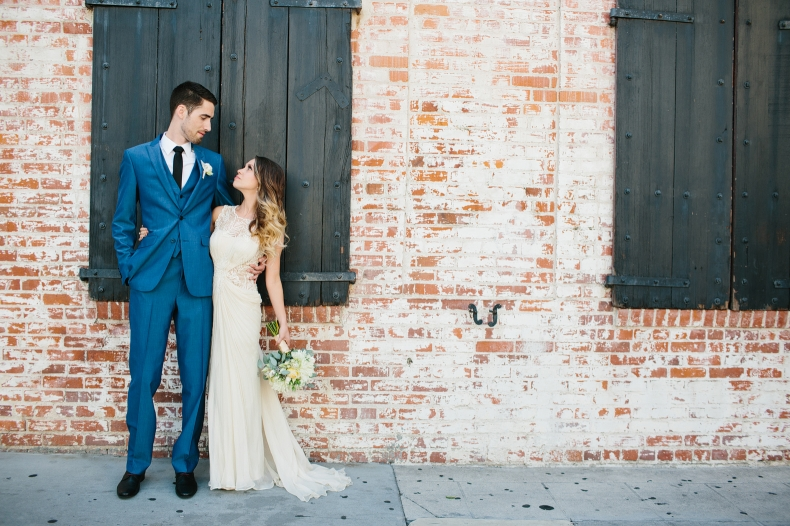 This is a photo of Alannah and Evan in front of their venue.