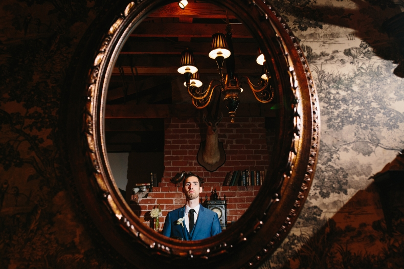 This is a photo of Evan floating in a mirror.