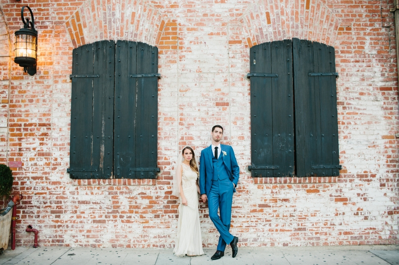 Alannah and Evan are chilling out in front of their Carondelet House wedding.
