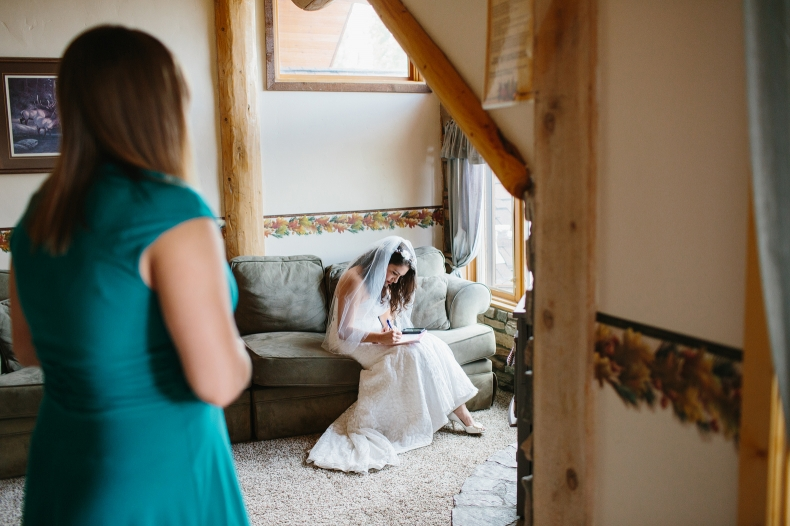 This is another shot of Jenn working on writing her vows.