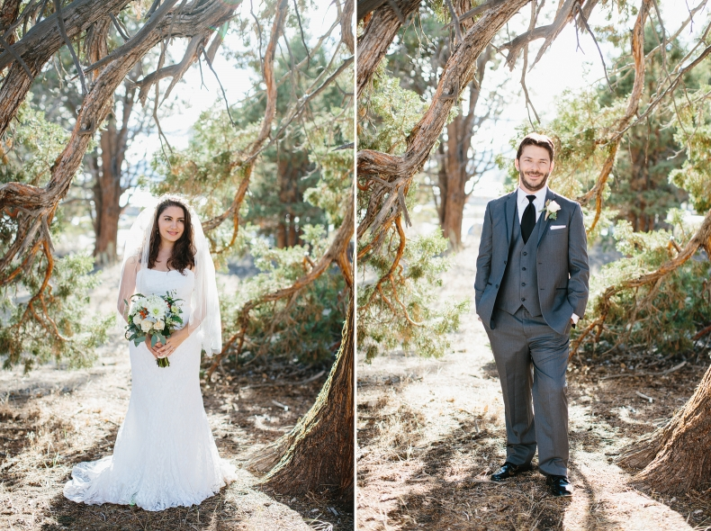 These are individual photos of Jenn and Jon at their Big Bear Lake wedding.