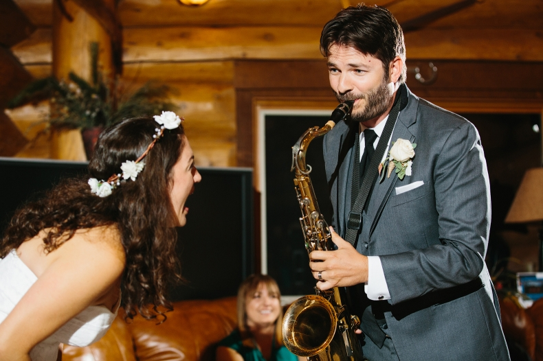 Jon even played the saxaphone for Jenn at their reception.