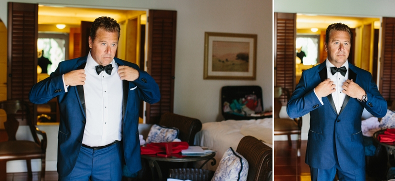This is Mike putting on his absolutely stunning custom made tux.