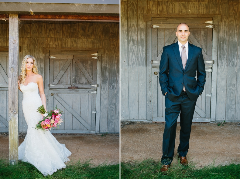 These are individual portrait photos of the bride and groom in front of a barn.
