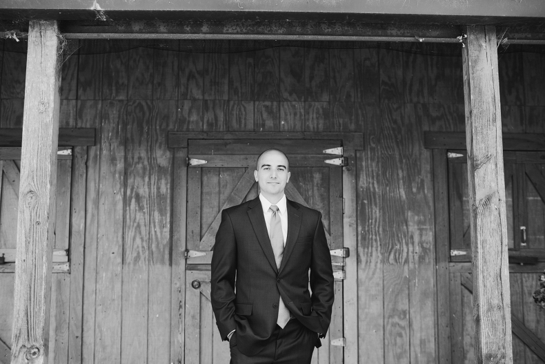 Here is a photo of the groom in front of the Maravilla Gardens barn.