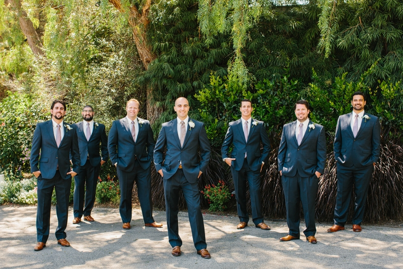 This is a photo of Steve and the groomsmen at Maravilla Gardens.