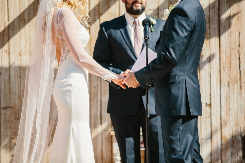 Sidney and Steve held hands during the ceremony.