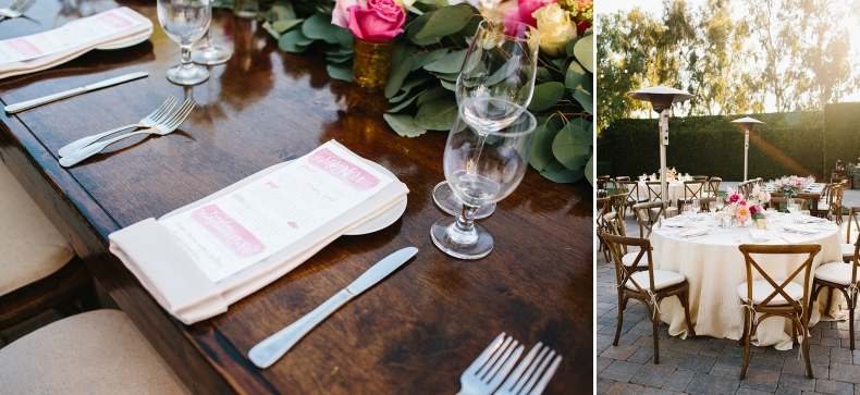 Here is a photo of the menu and a photo of the linen table settings.