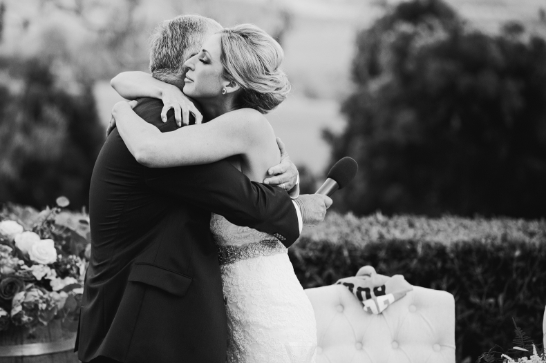 Here is a photo of the bride hugging her dad.