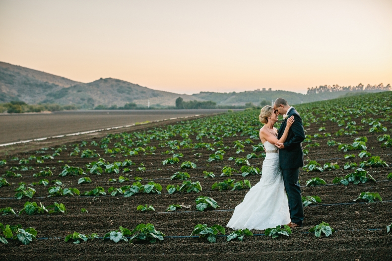 This is another photo of Sidney and Steve in the cabbage fields during sunset.