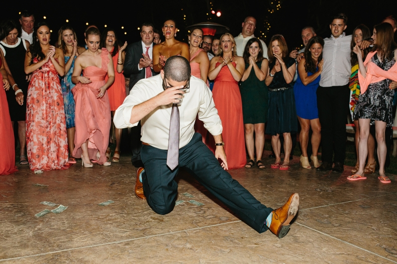 A groomsmen also did a special dance move to take a drink.