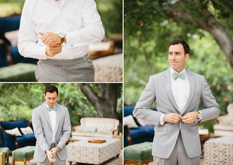 These photos show the groom getting dressed.