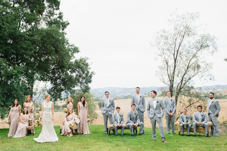This is a beautiful full wedding party photo.