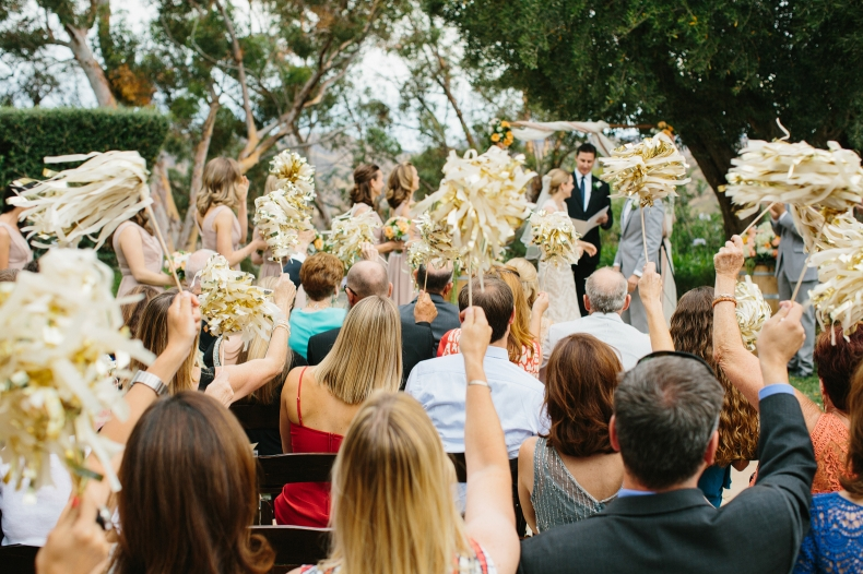 Everyone waved pom-poms at the end of the ceremony.