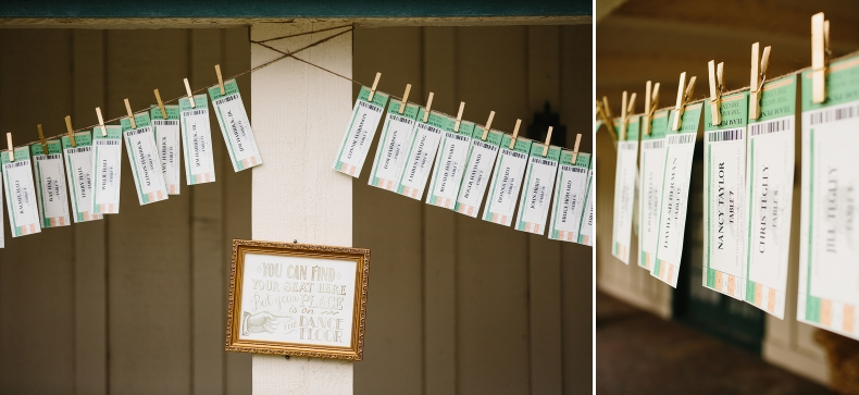 The escort cards were clipped on twine.