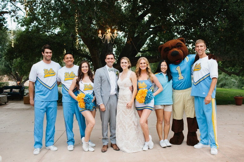 Here is a photo of the bride and groom with the UCLA spirit squad.