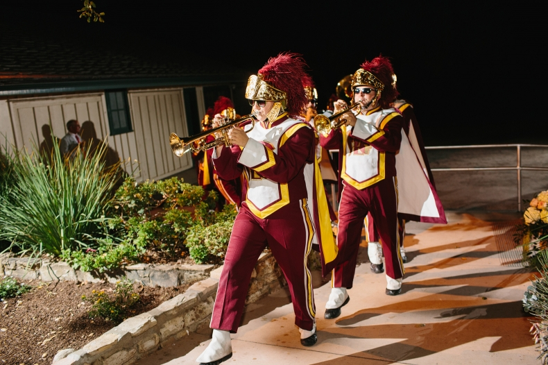 The USC marching band surprised Kelly and Chris at their wedding.