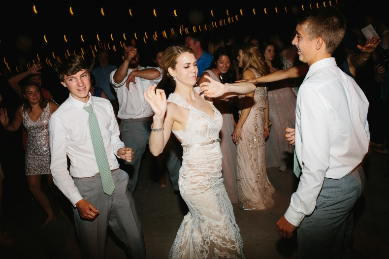 This is a photo of the bride dancing during the reception.
