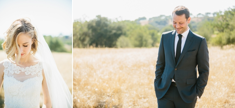 Individual portraits of the bride and groom.