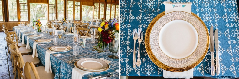 The couple had beautiful blue tablecloths and gold plates.