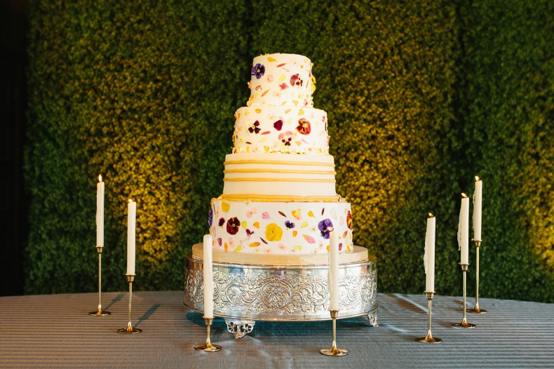 The cake was tiered with florals.