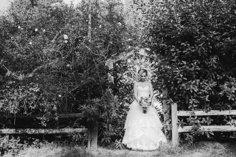 The bride in a rustic archway.
