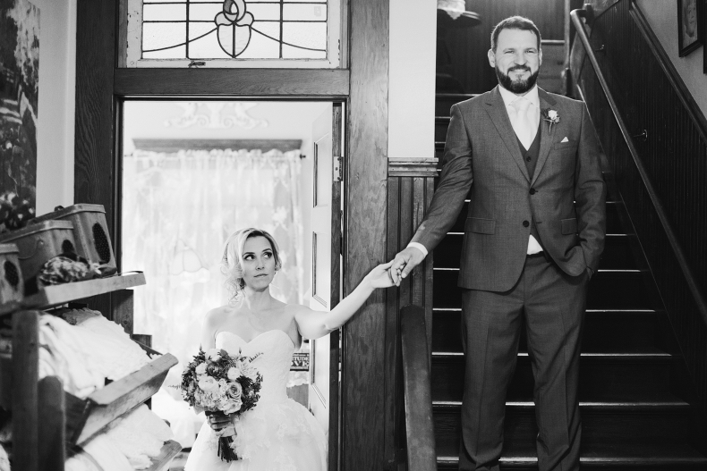 The bride and groom had a special first moment.