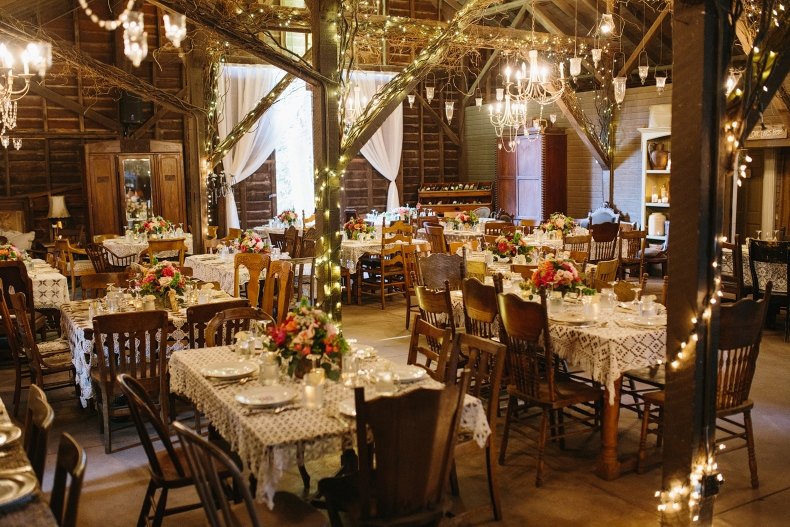 The reception was inside the barn.