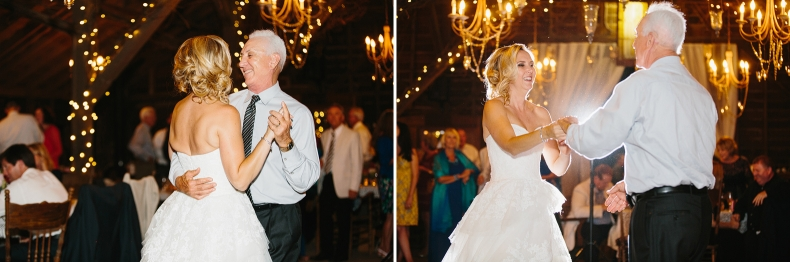 The bride dancing with her dad.
