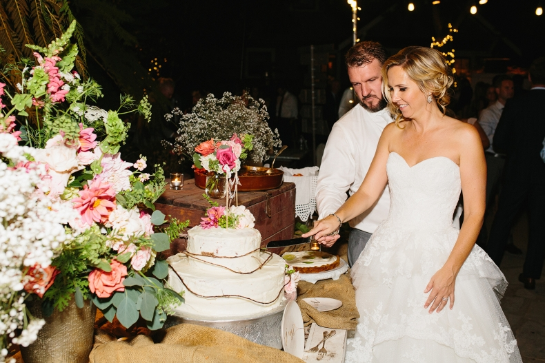 Brooke and Blake cutting their cake.