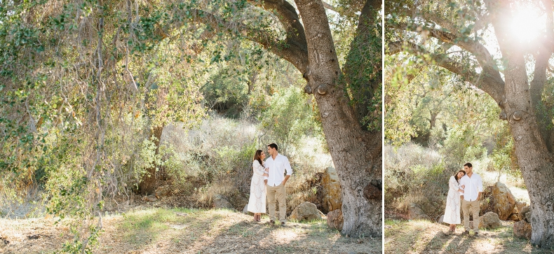 The couple under a large tree.