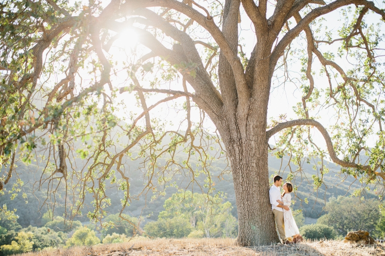 The couple next to a large tree.