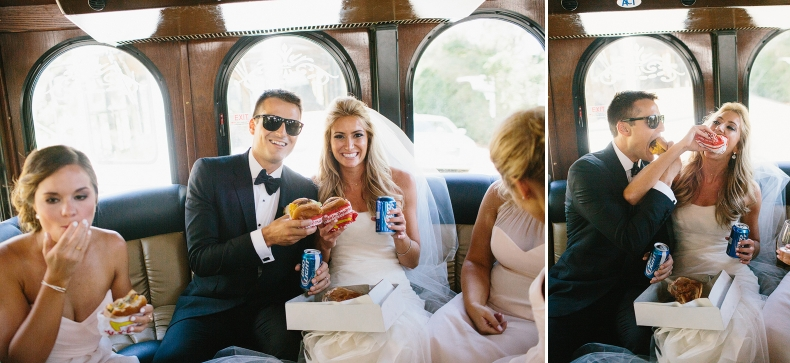 The couple had in n out on the trolley.