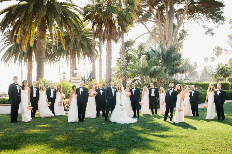 The wedding party at Four Seasons in Santa Barbara.