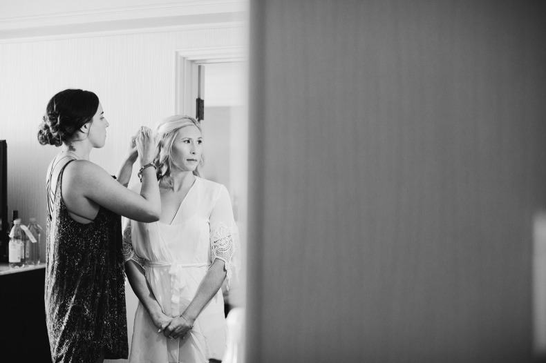 The final touches on the bride