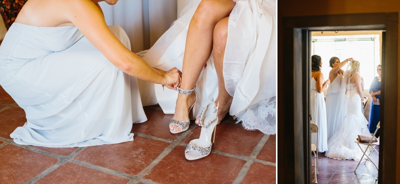 Liz putting on her shoes and veil.