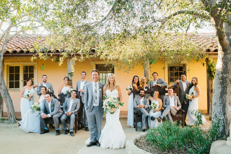 The full wedding party at the Santa Barbara Historical Museum.