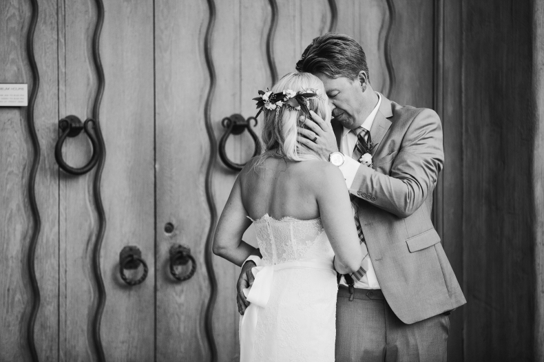 A sweet black and white photo of the couple.