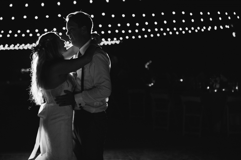 A gorgeous black and white photo of the first dance.