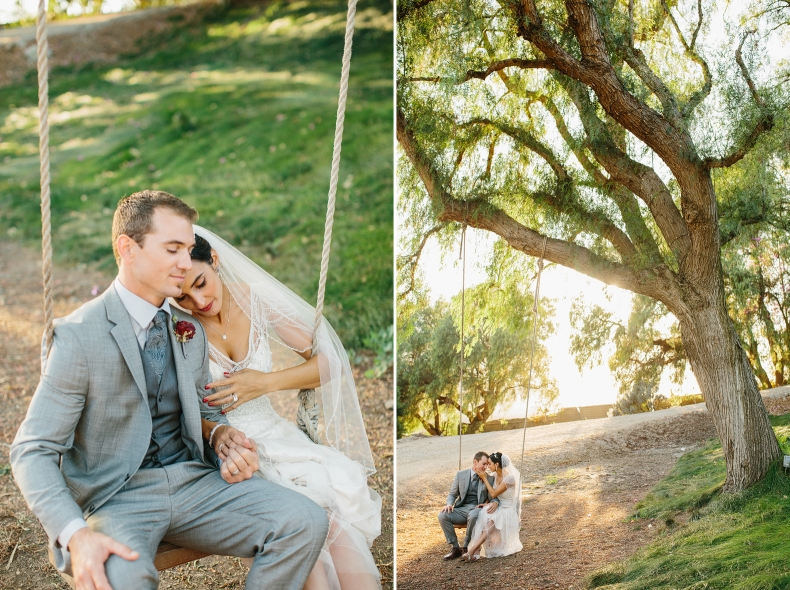 Sweet photos of the couple on a swing.