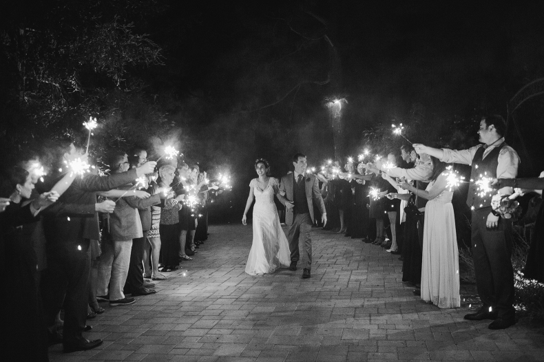 The sparkler send off.