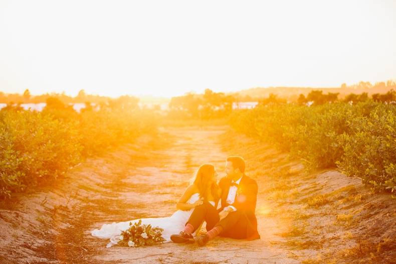 A sunset photo of the bride and groom.