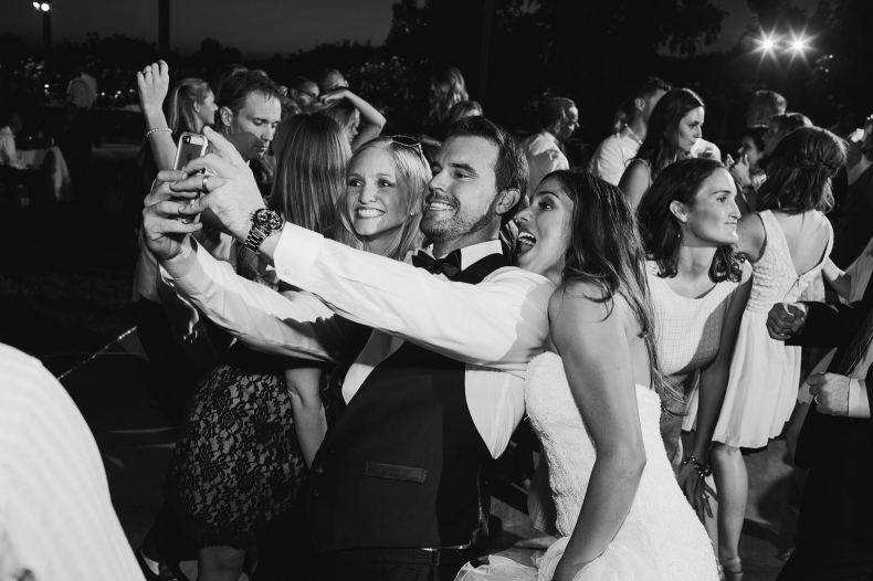 The couple taking a selfie.