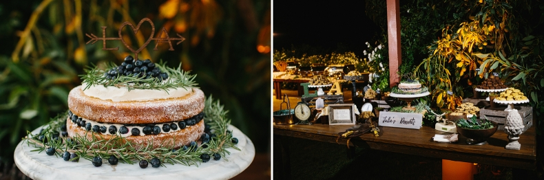 The wedding cake and dessert bar.