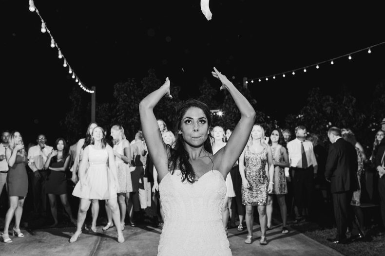 The bridal bouquet toss.